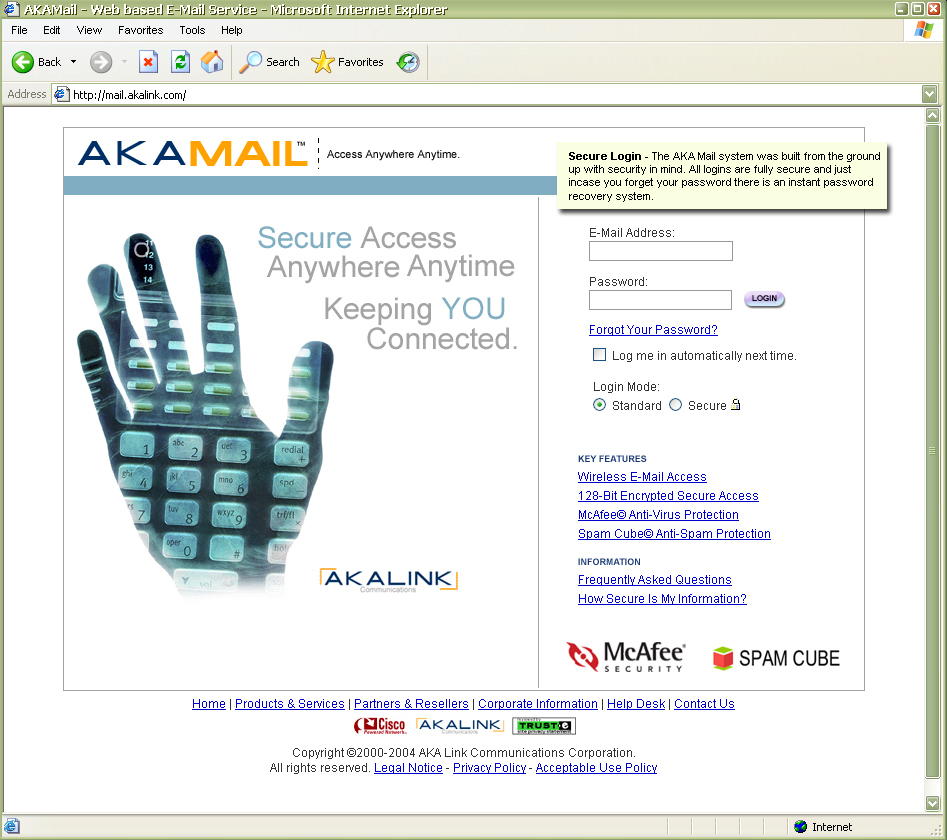 Login page to the AKA Mail webmail application