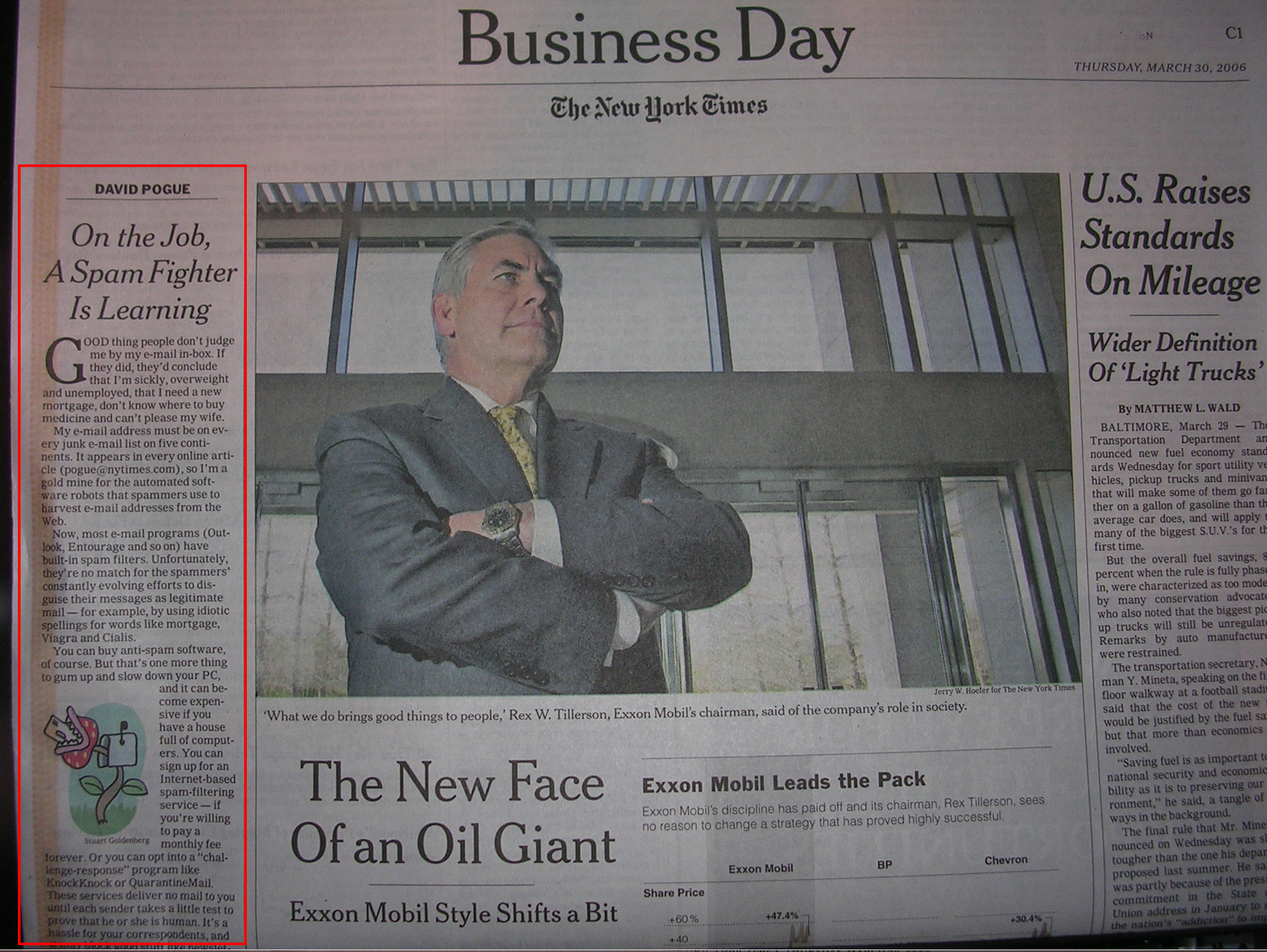 Spam Cube in the New York Times. A picture of a the front page of the New York Times business section featuring a review of the Spam Cube