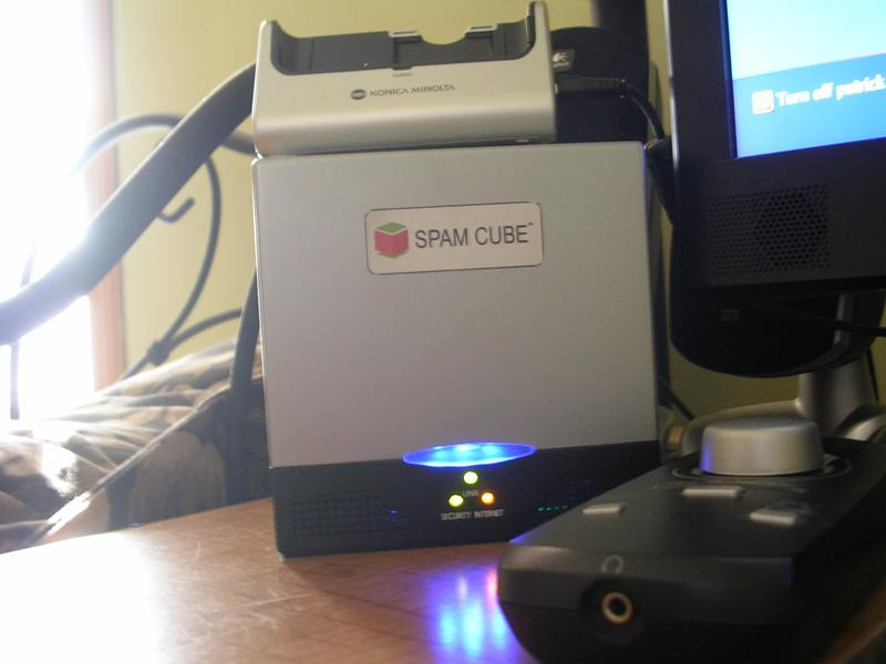 A Spam Cube home network security device
