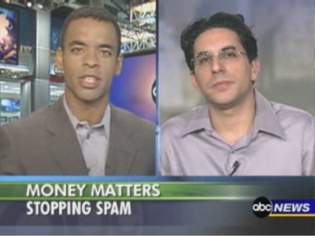 A picture of Joseph P. Marino talking to Rob Simmelkjaer about the Spam Cube on ABC News Money Matters