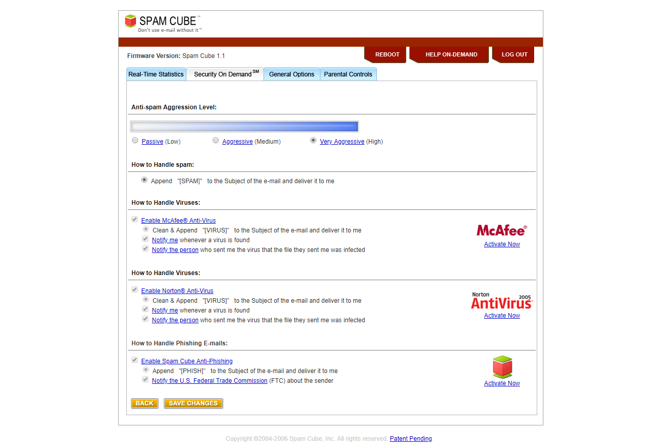 Spam Cube's security on-demand software-as-a-service feature showing McAfee and Norton Anti-virus options, as well as anti-spam artificial intelligence (AI) aggression settings